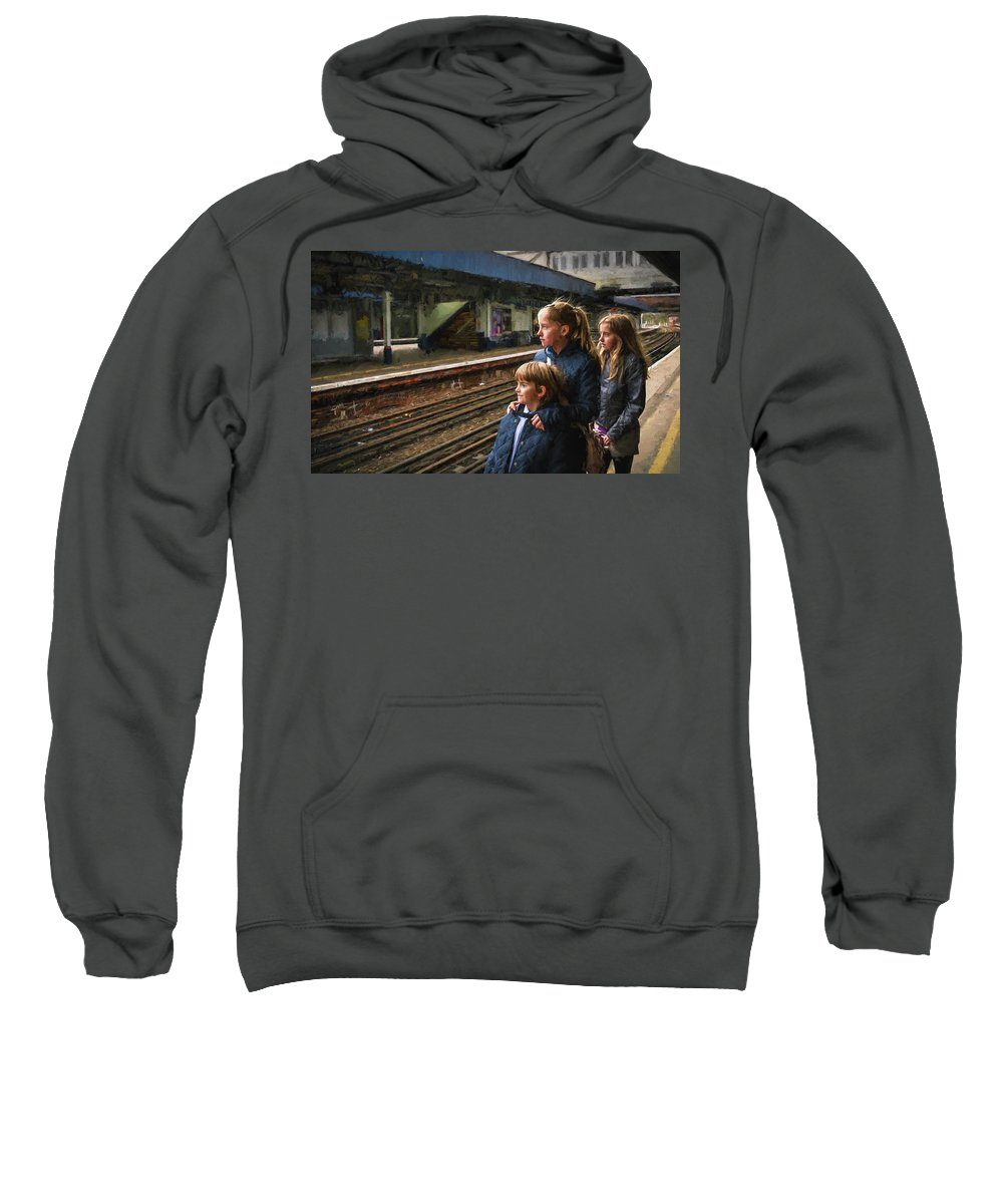 Boy Sweatshirt featuring the photograph The Railway Children by Peter Hayward Photographer