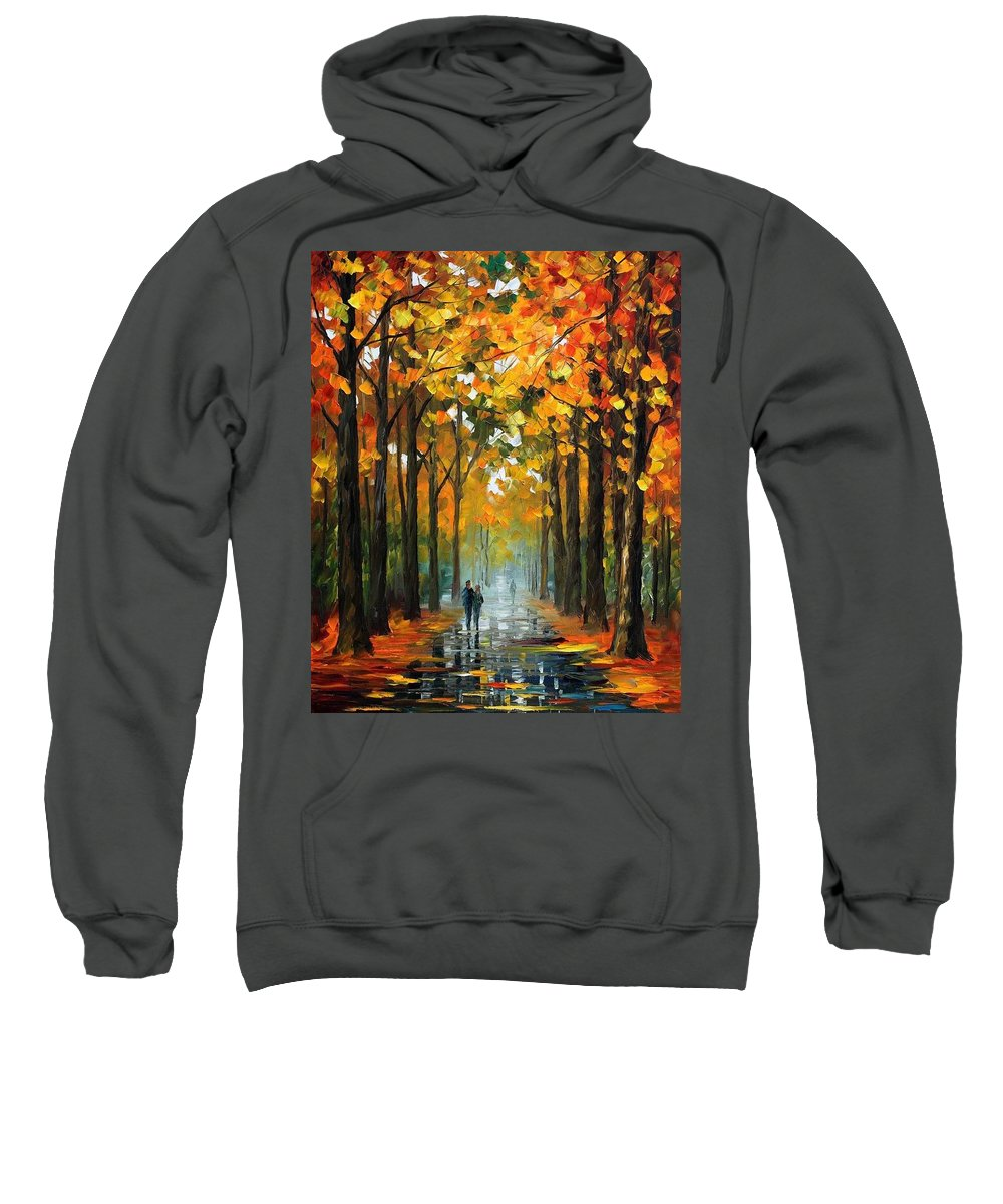 Afremov Sweatshirt featuring the painting The Rain Is Gone by Leonid Afremov