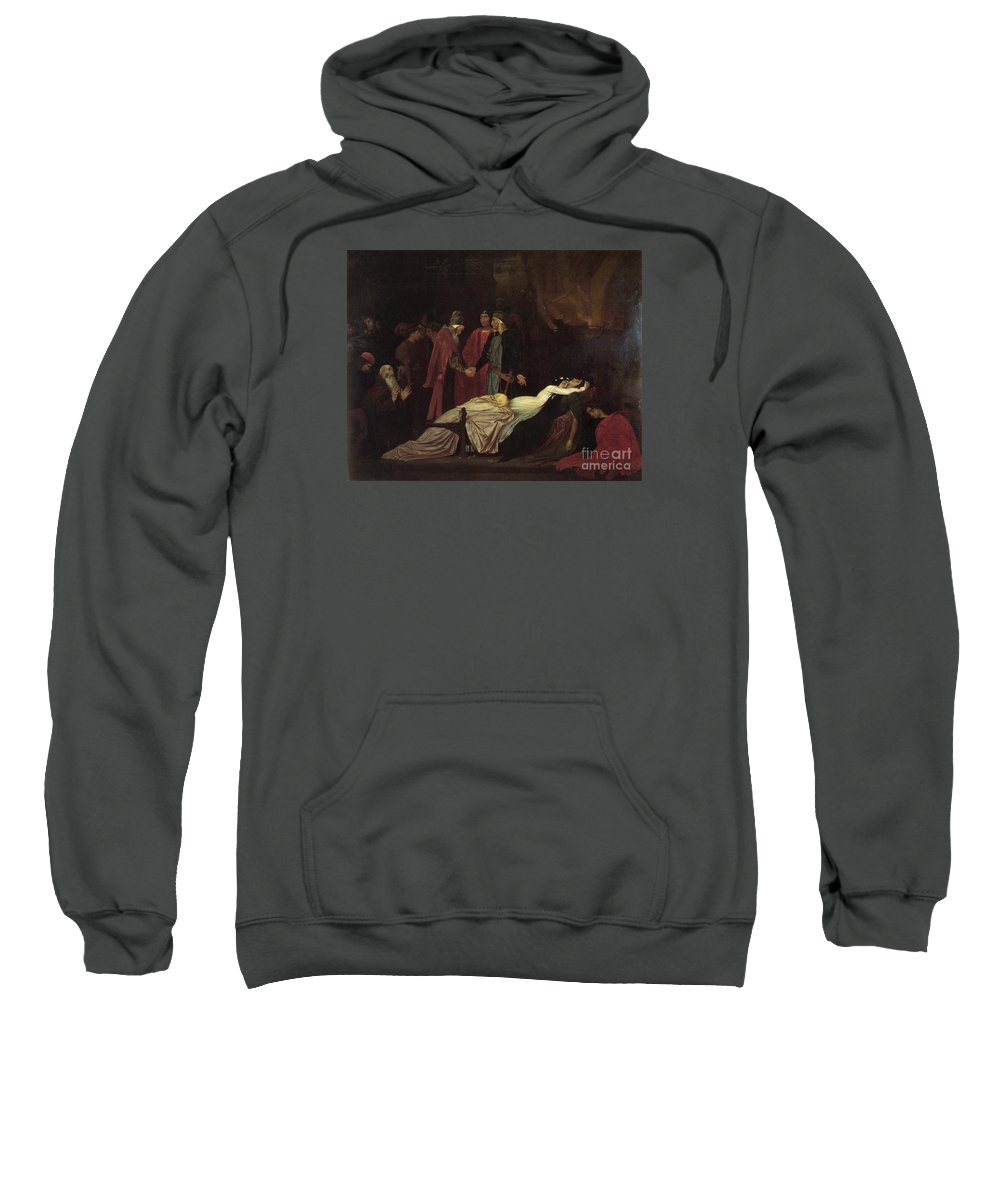 The Reconciliation Of The Montagues And Capulets - Frederic Leighton Sweatshirt featuring the painting The Reconciliation Of The Montagues by MotionAge Designs