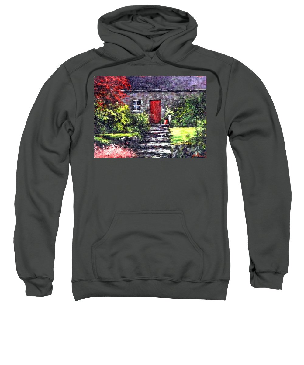 Ireland Sweatshirt featuring the painting The Red Door by Jim Gola