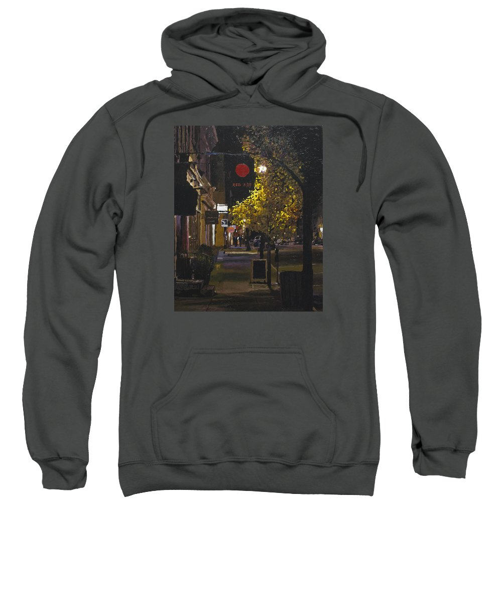 Hudson Sweatshirt featuring the painting The Red Dot At Night by Kenneth Young
