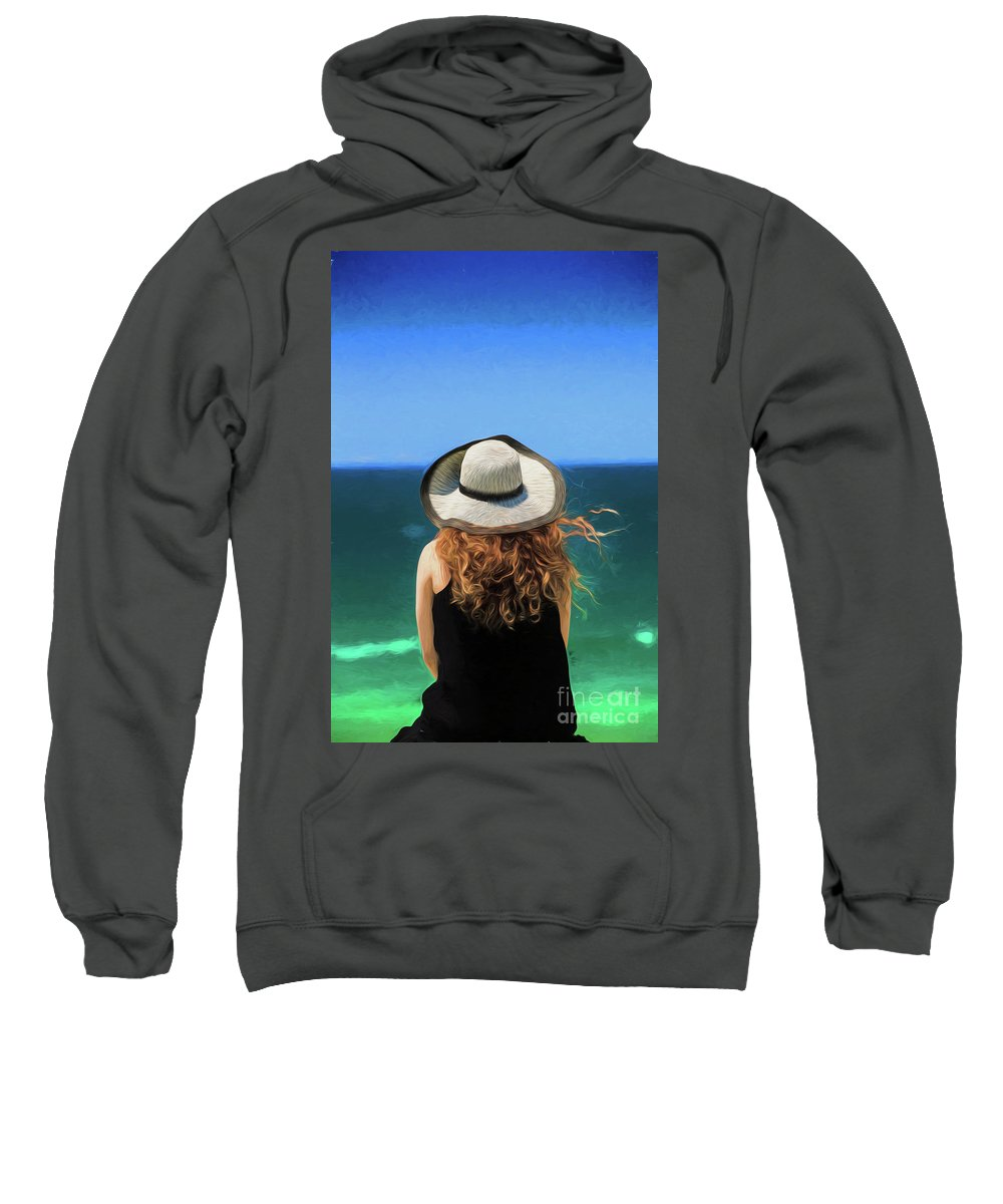 Red Headed Girl Sweatshirt featuring the photograph The red headed girl in a hat by Sheila Smart Fine Art Photography