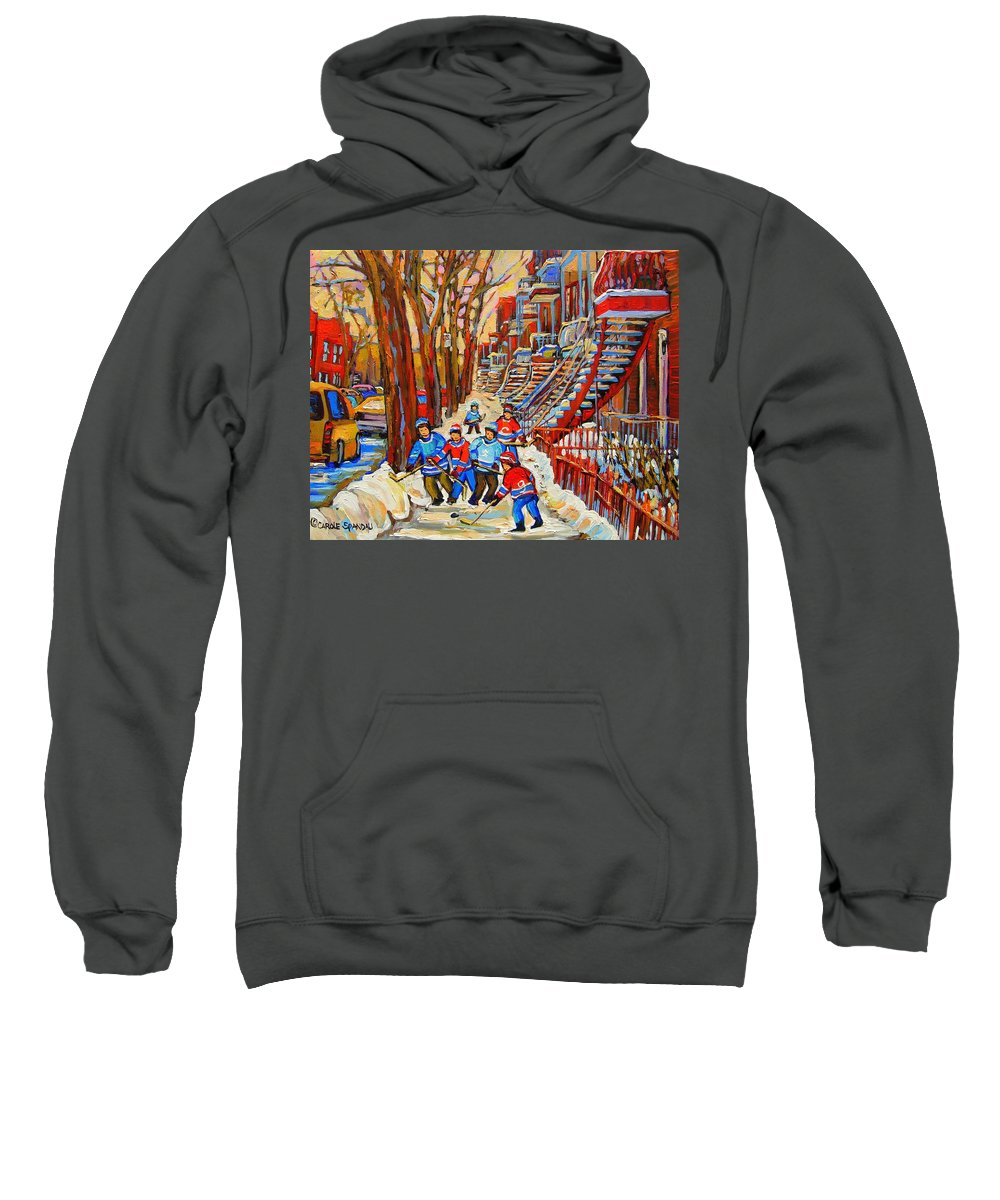 Sweatshirt featuring the painting The Red Staircase Painting By Montreal Streetscene Artist Carole Spandau by Carole Spandau