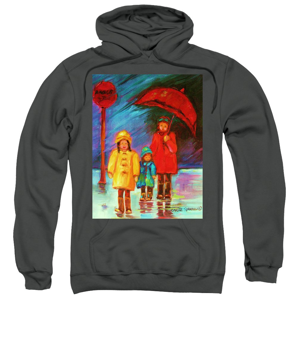 Rainy Day Sweatshirt featuring the painting The Red Umbrella by Carole Spandau