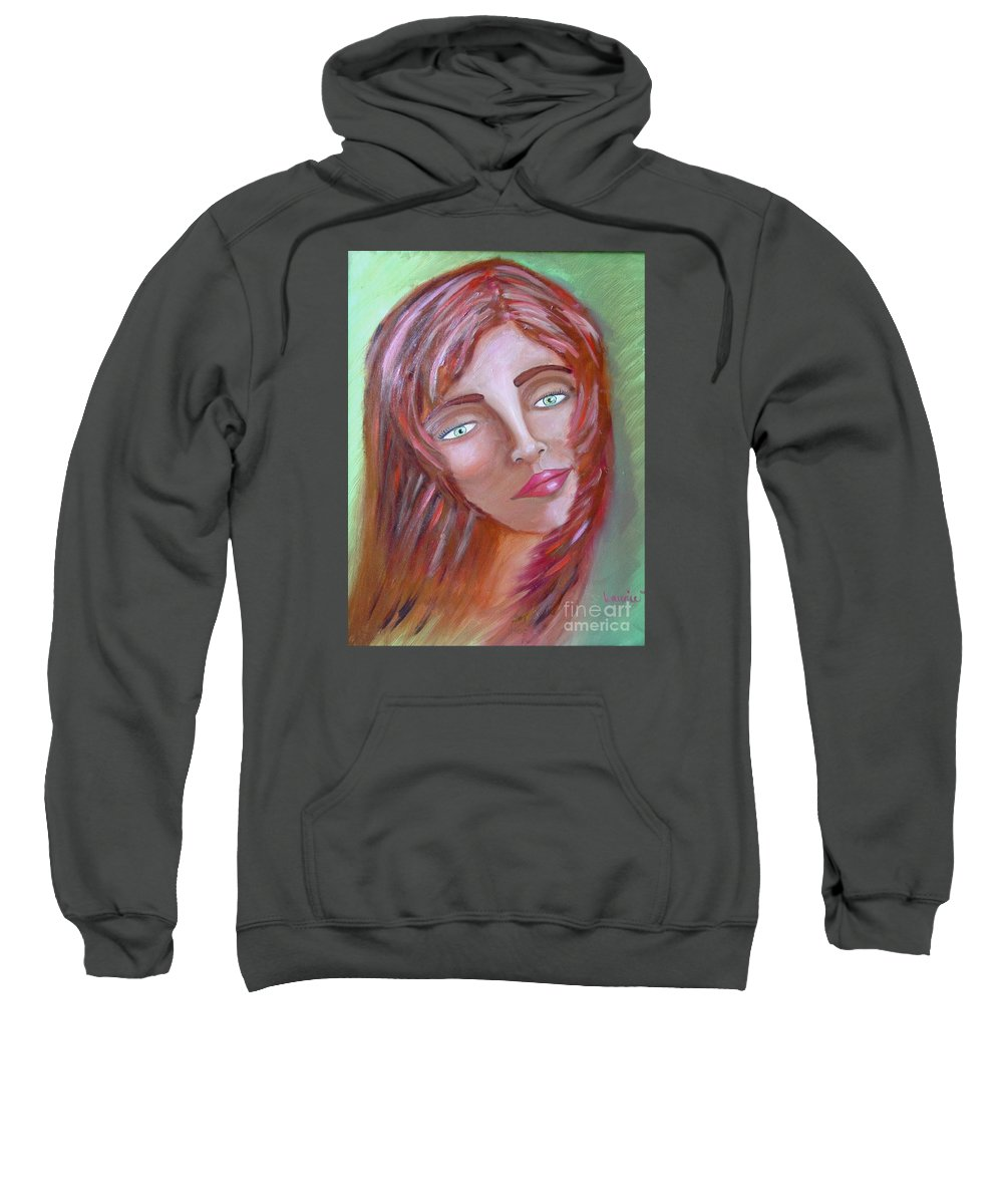 Redheads Sweatshirt featuring the painting The Redhead by Laurie Morgan