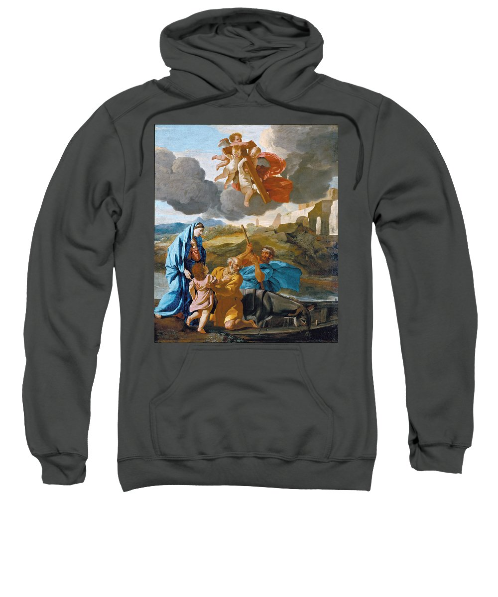 Nicolas Poussin Sweatshirt featuring the painting The Return Of The Holy Family From Egypt by Nicolas Poussin