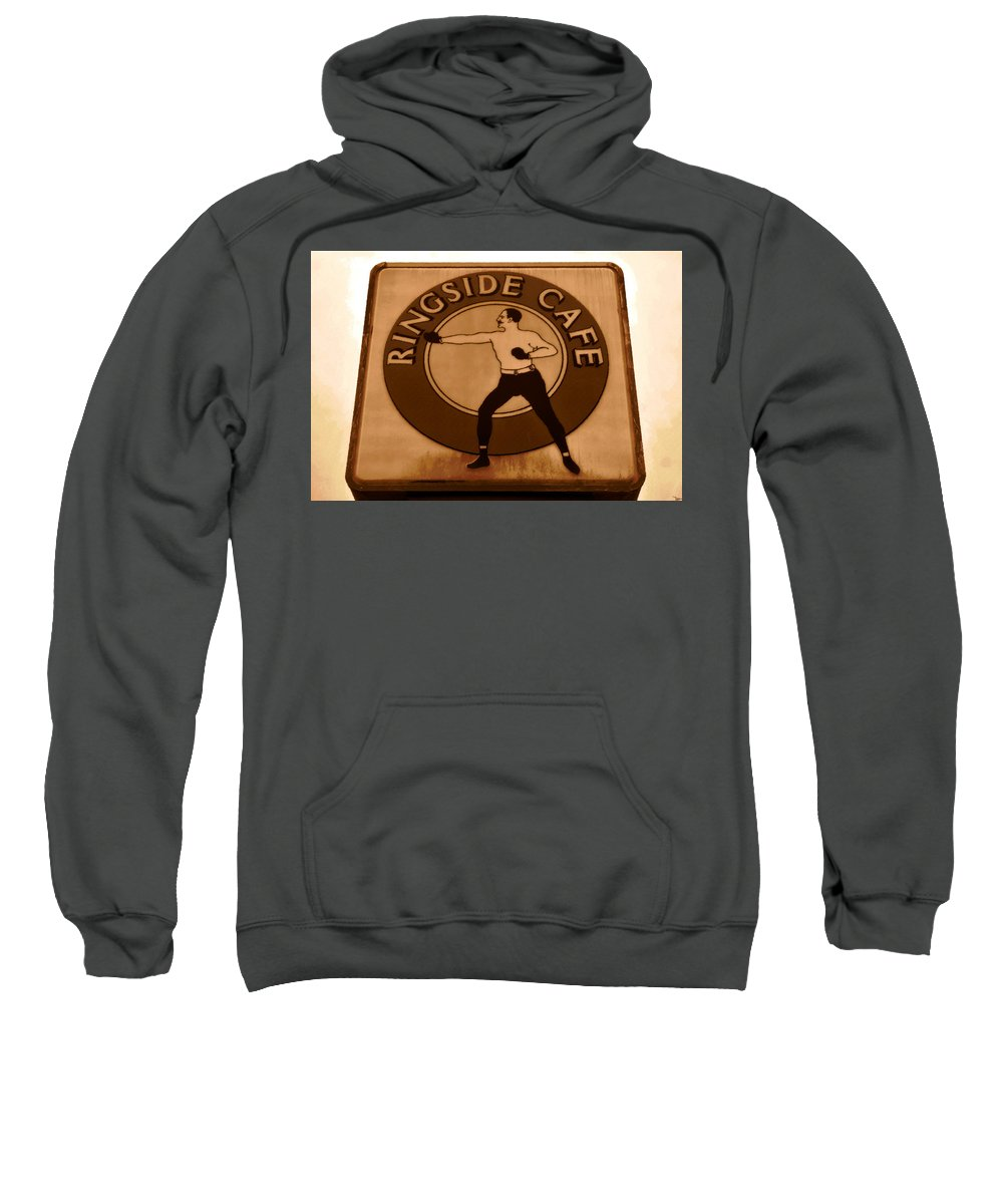Art Sweatshirt featuring the painting The Ringside Cafe by David Lee Thompson