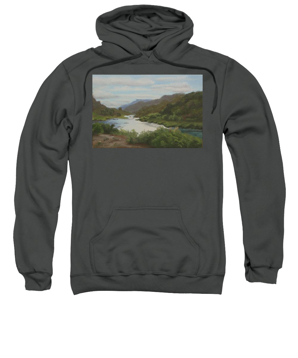 Landscape Sweatshirt featuring the painting The Rio Grande Between Taos And Santa Fe by Lea Novak