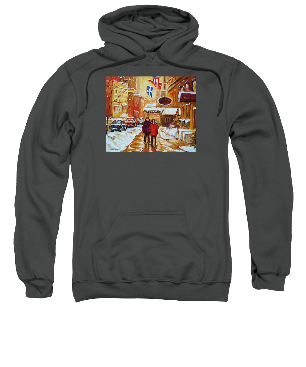 Streetscene Sweatshirt featuring the painting The Ritz Carlton by Carole Spandau