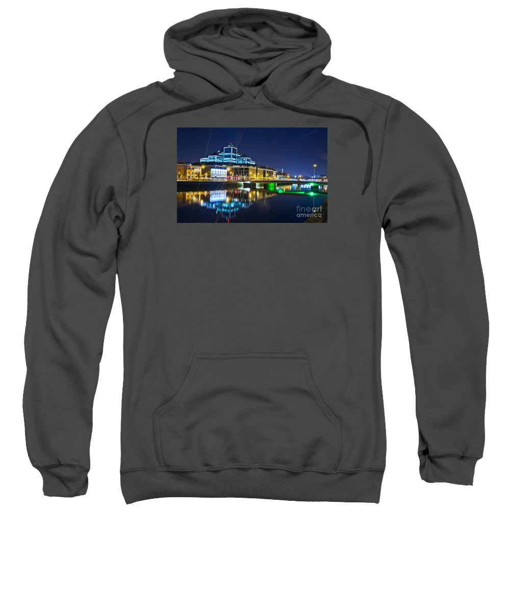 River Liffey Reflections Sweatshirt featuring the photograph The River Liffey Reflections 4 by Alex Art and Photo