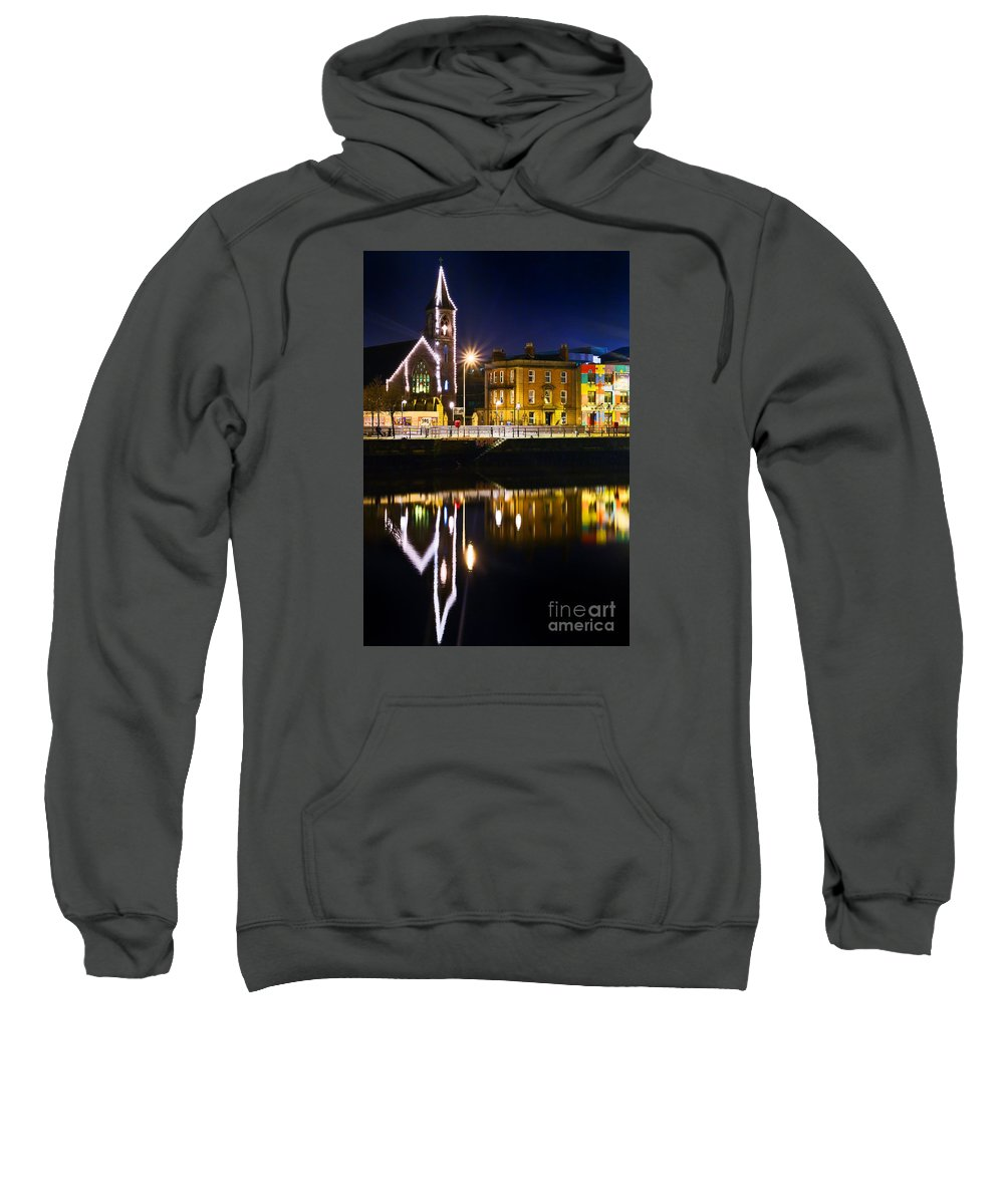 River Liffey Reflections Sweatshirt featuring the photograph The River Liffey Reflections by Alex Art and Photo