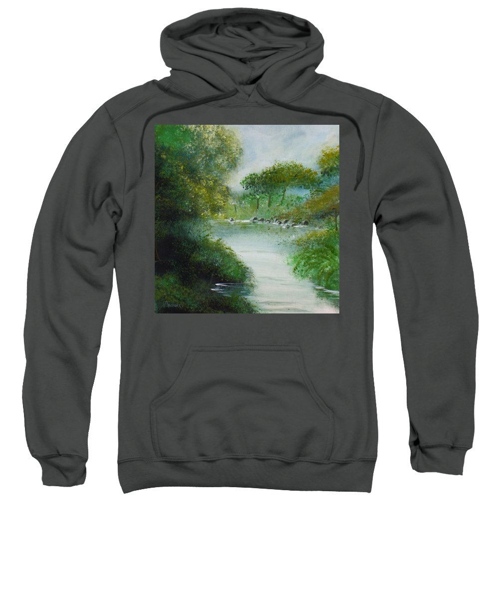 River Water Trees Clouds Leaves Nature Green Sweatshirt featuring the painting The River by Veronica Jackson