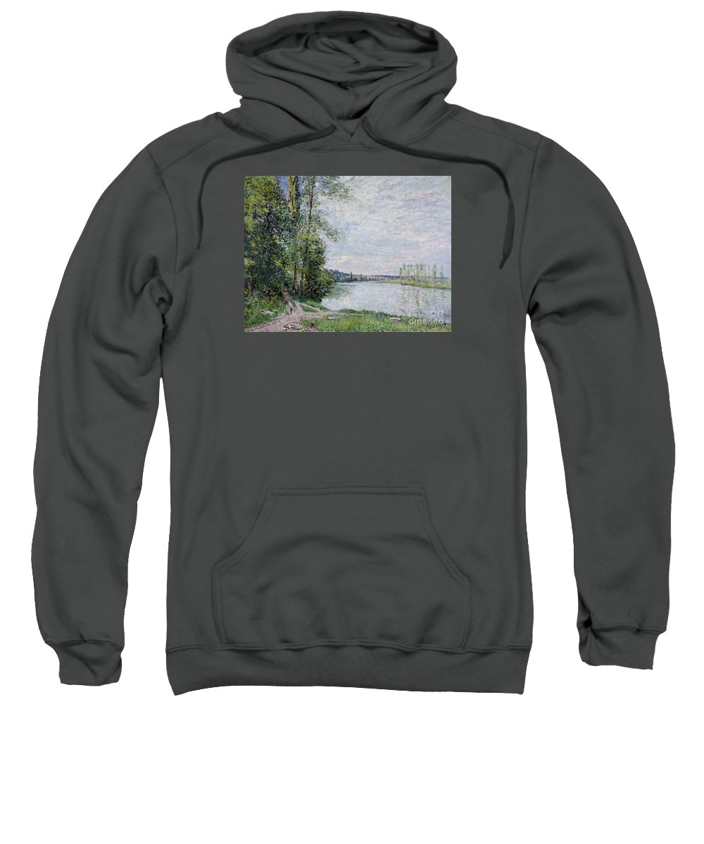 The Riverside Road From Veneux To Thomery Sweatshirt featuring the painting The Riverside Road From Veneux by MotionAge Designs
