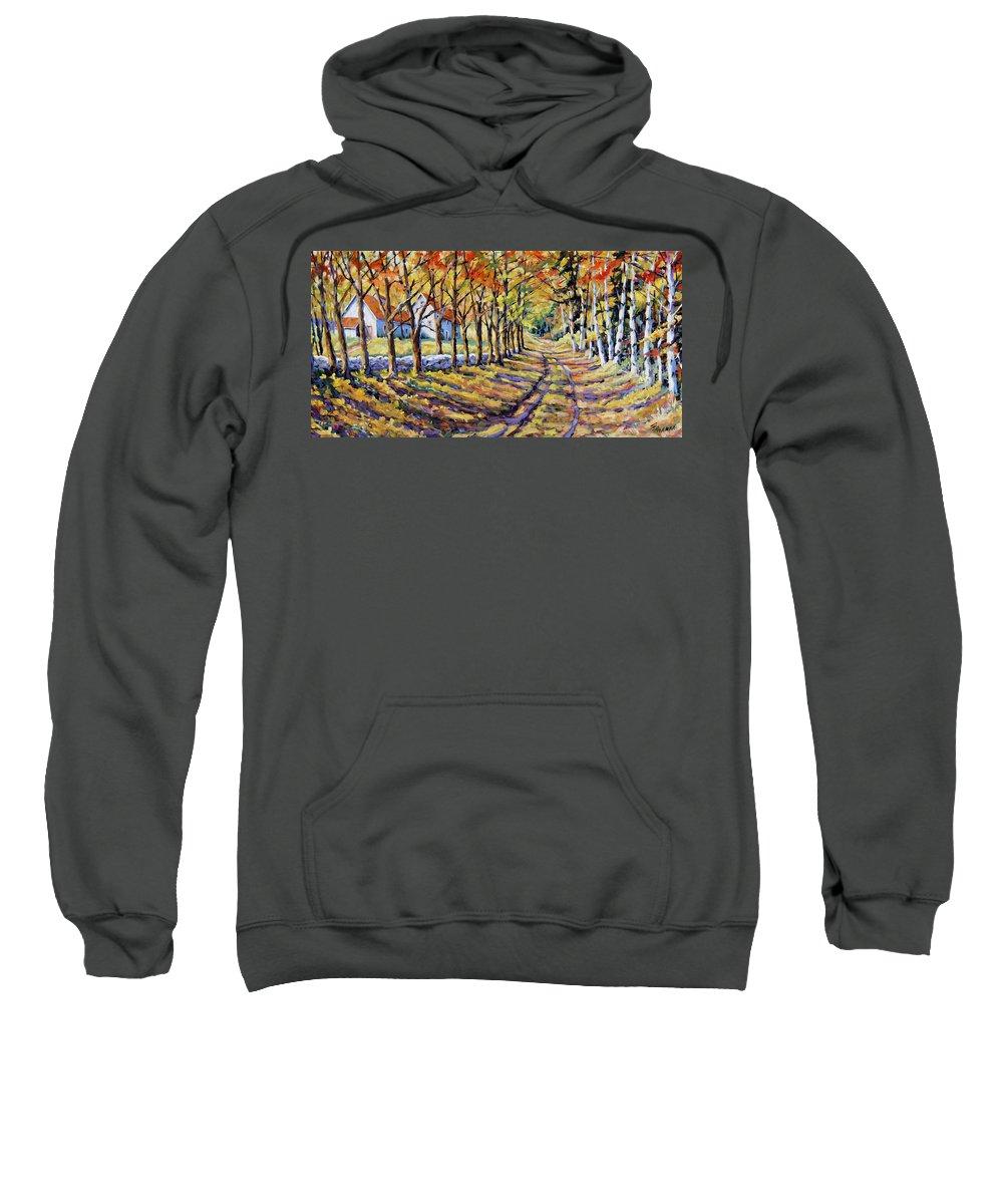 Prankepaintings Sweatshirt featuring the painting The Road Home by Richard T Pranke