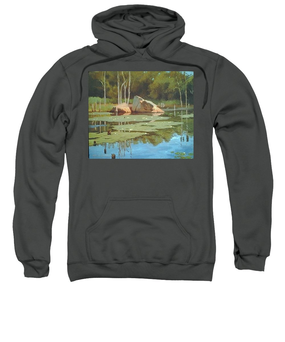 Landscape Sweatshirt featuring the painting The Rock by Dianne Panarelli Miller