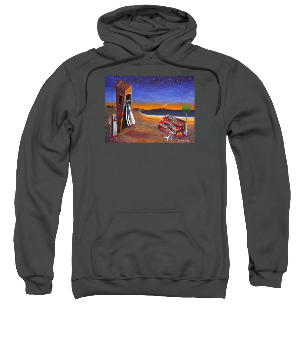 Landscape Sweatshirt featuring the painting The School Of Metaphysical Thought by Dimitris Milionis