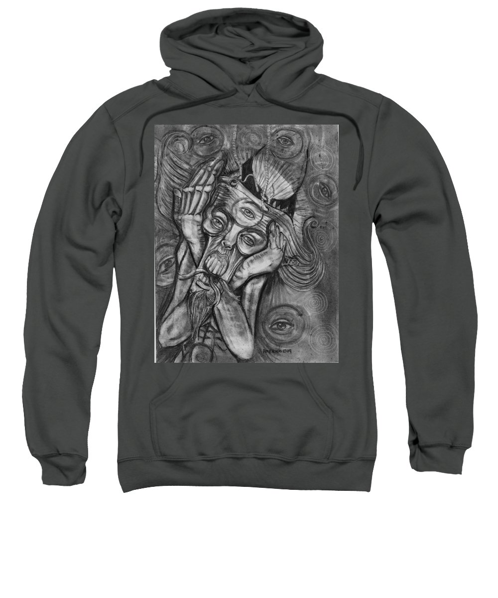 The Scream Sweatshirt featuring the drawing The Scream by Americo Salazar