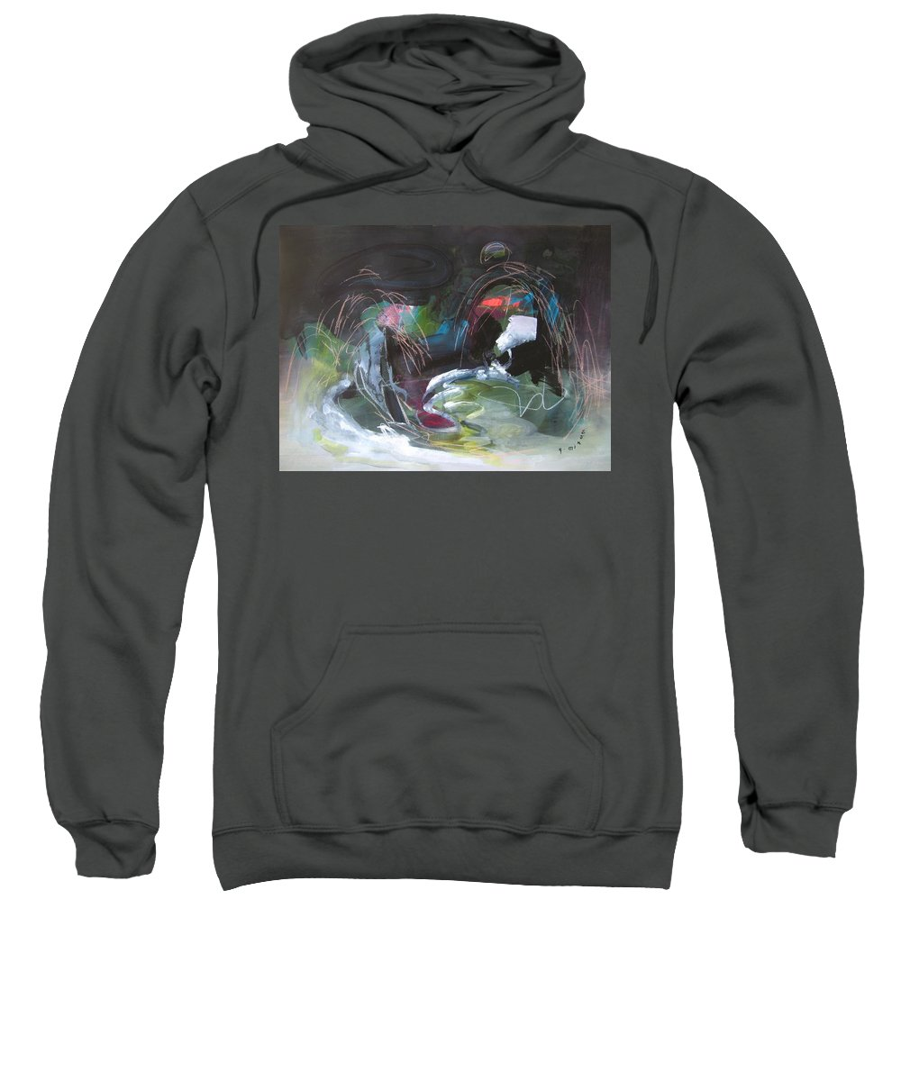Abstract Sweatshirt featuring the painting The Secret Of The Shadow Original Abstract Colorful Landscape Painting For Sale Red Blue Green by Seon-Jeong Kim