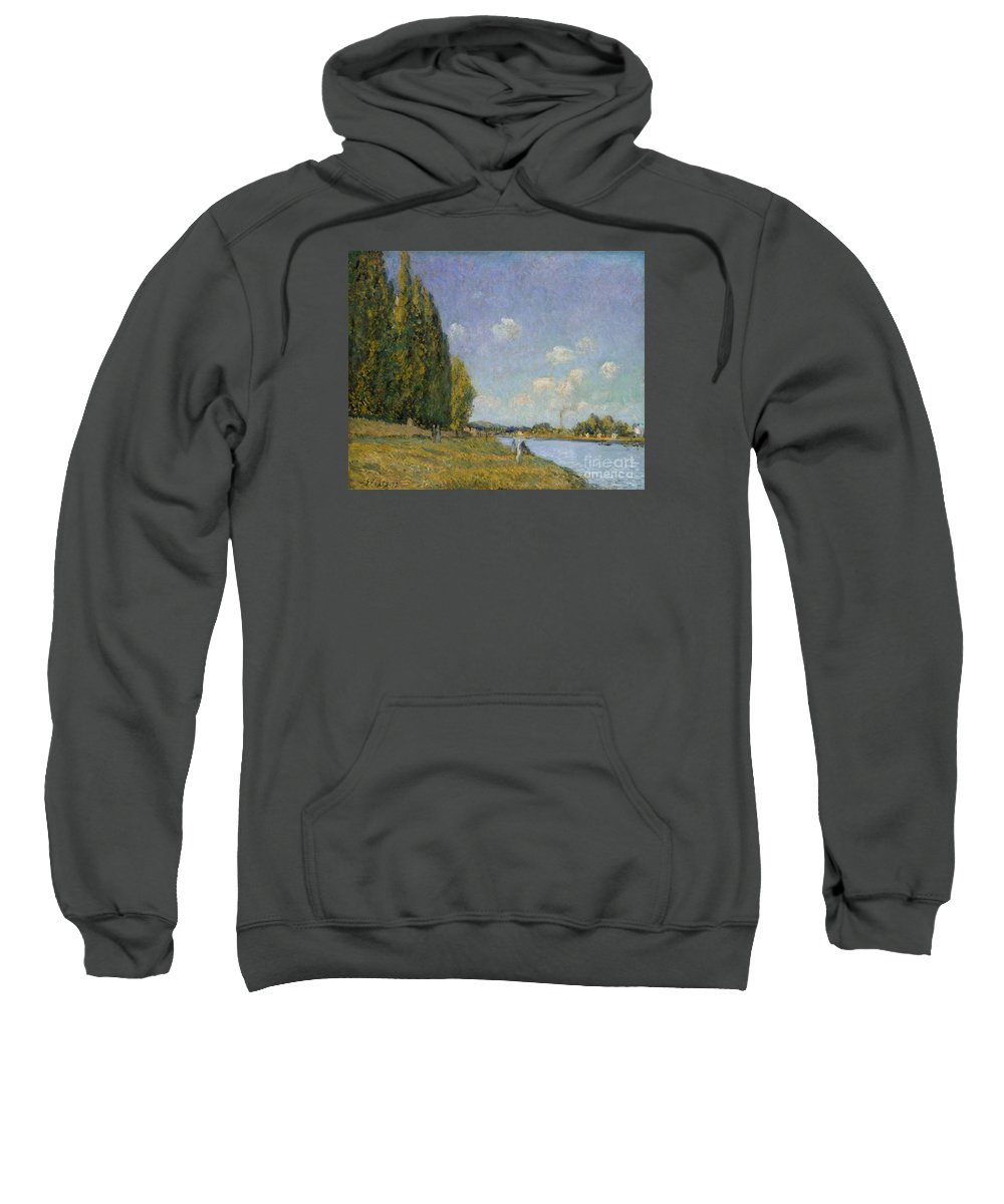 The Seine At Billancourt Sweatshirt featuring the painting The Seine At Billancourt by MotionAge Designs