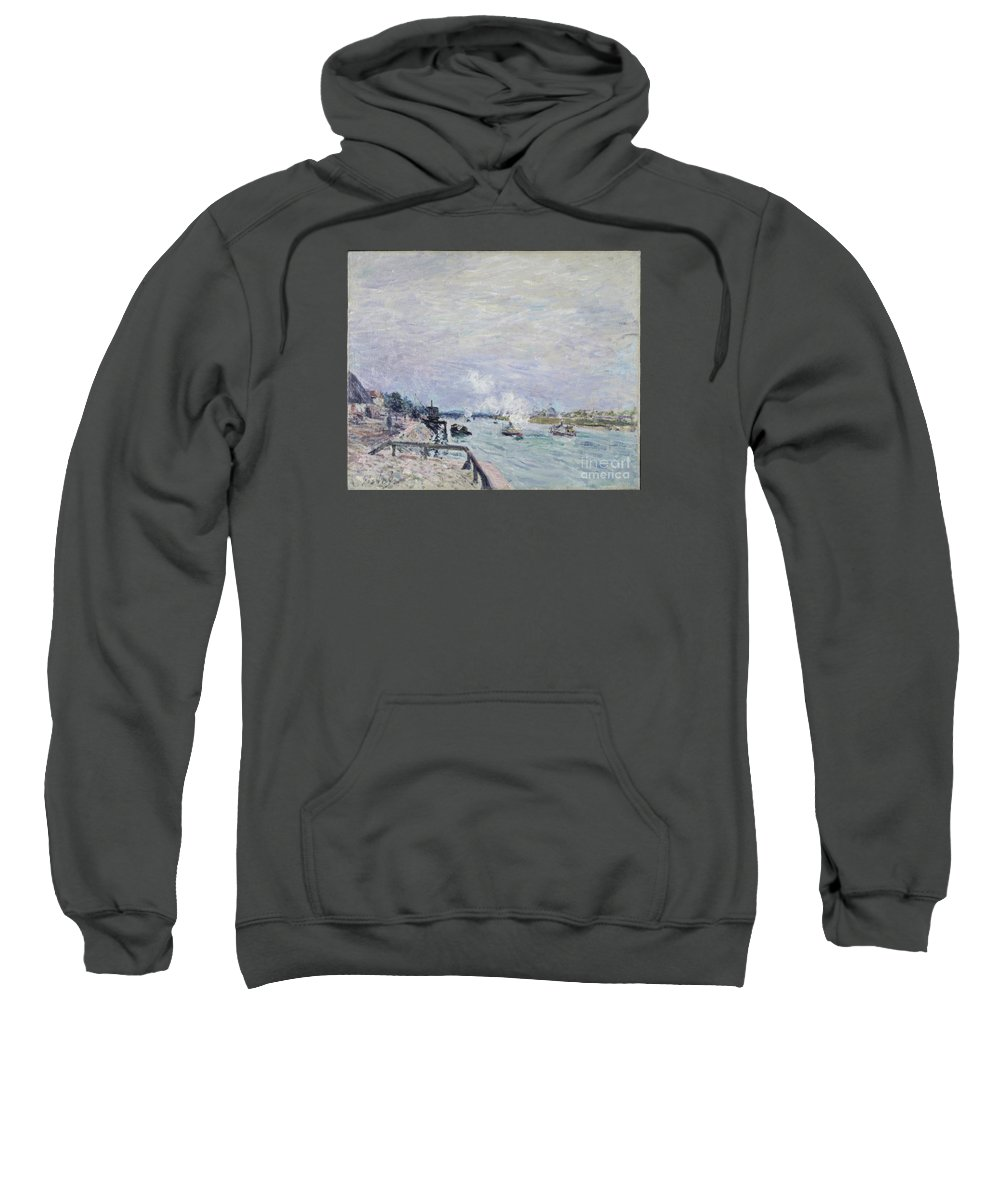 The Seine At Grenelle - Rainy Weather Sweatshirt featuring the painting The Seine At Grenelle by MotionAge Designs