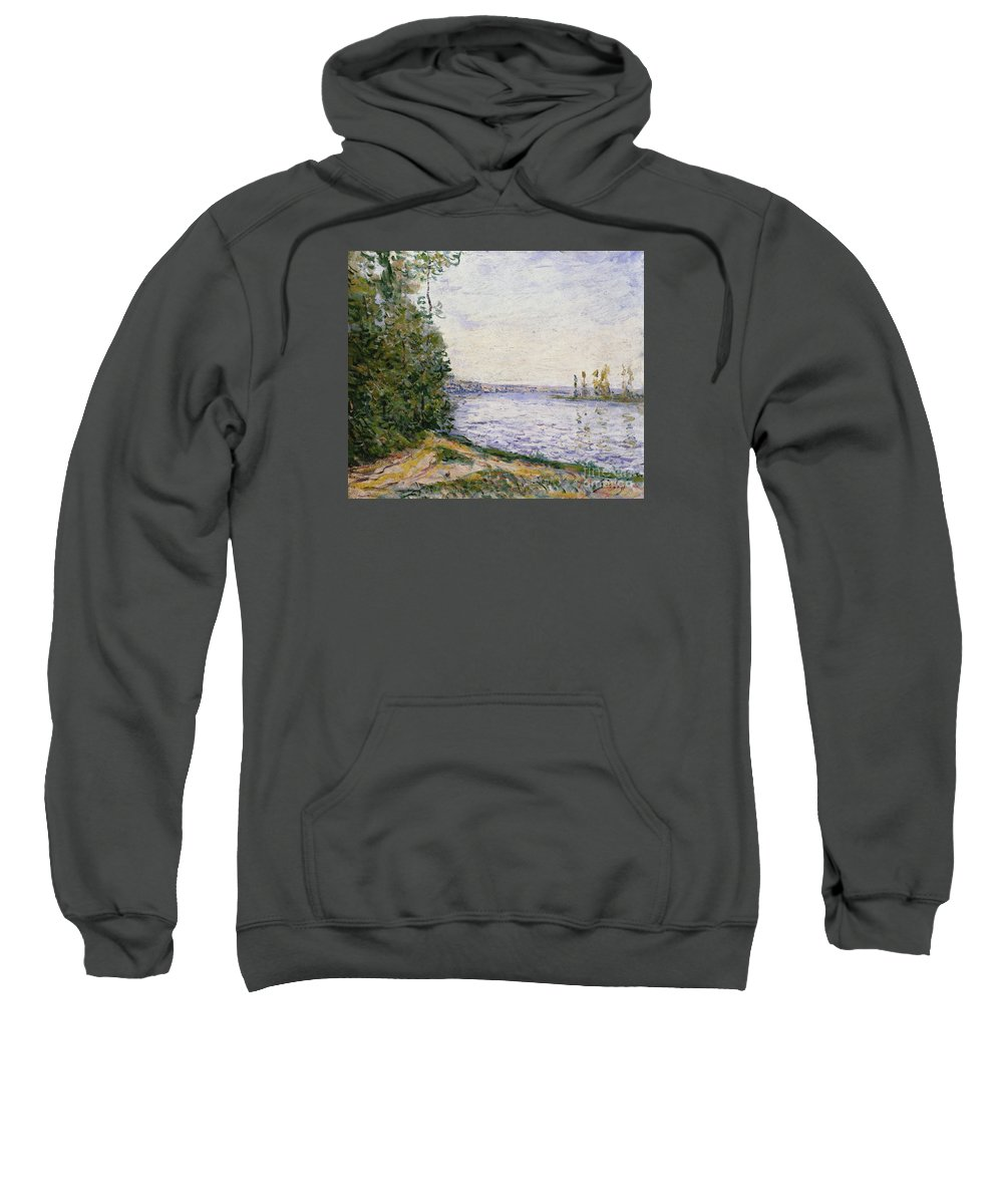 The Seine Near By Sweatshirt featuring the painting The Seine Near by MotionAge Designs