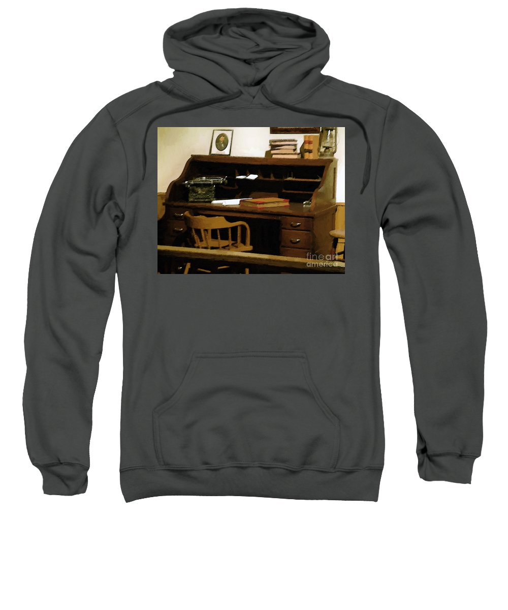 Antiques Sweatshirt featuring the digital art The Sheriff Is Out by RC deWinter