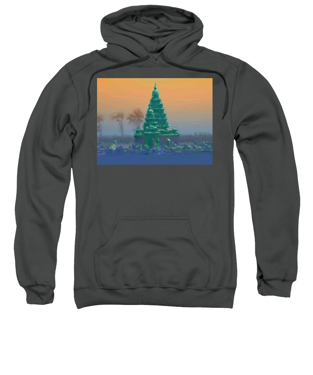 The Shore Temple Sweatshirt featuring the painting The Shore Temple by Usha Shantharam