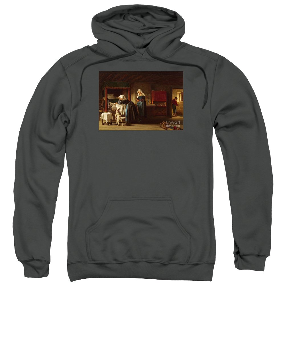 Th�ophile Emmanuel Duverger Sweatshirt featuring the painting The Sick Child by MotionAge Designs