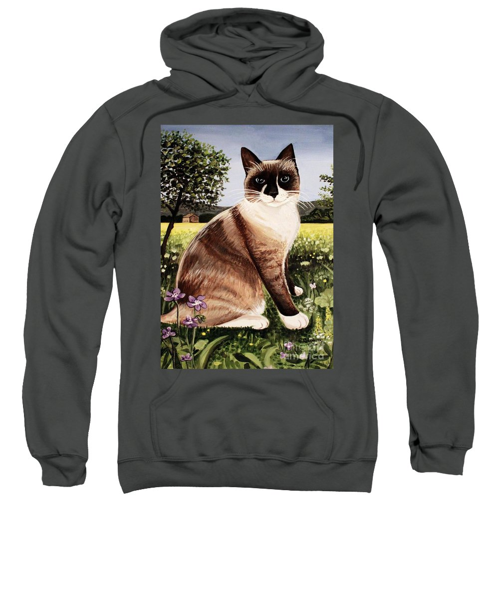 Pet Portrait Sweatshirt featuring the painting The Snowshoe Cat by Elizabeth Robinette Tyndall