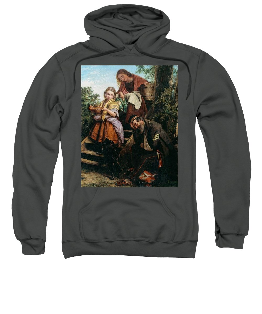 People Sweatshirt featuring the digital art The Soldiers Return Henry Nelson Oneil by Eloisa Mannion