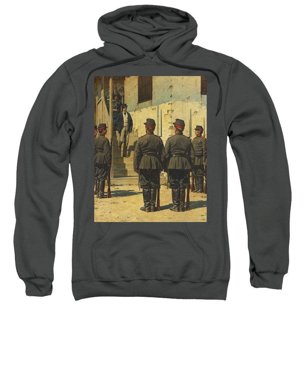 Vasily Vereshchagin Sweatshirt featuring the painting The Spy by Vasily Vereshchagin