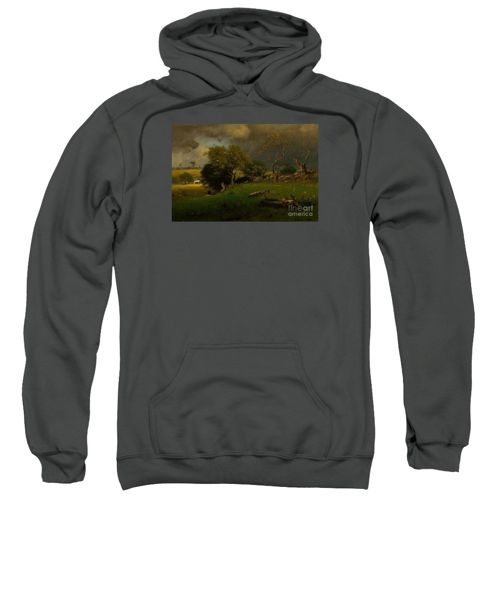 The Storm Sweatshirt featuring the painting The Storm, George Inness by MotionAge Designs
