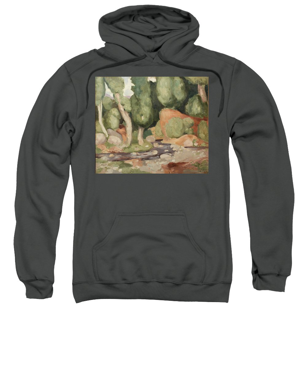 Juan Gonzalez Pellicer Sweatshirt featuring the painting The Stream by MotionAge Designs