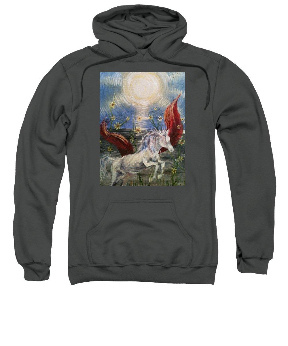 Tarot Sweatshirt featuring the painting the Sun by Karen Ferrand Carroll