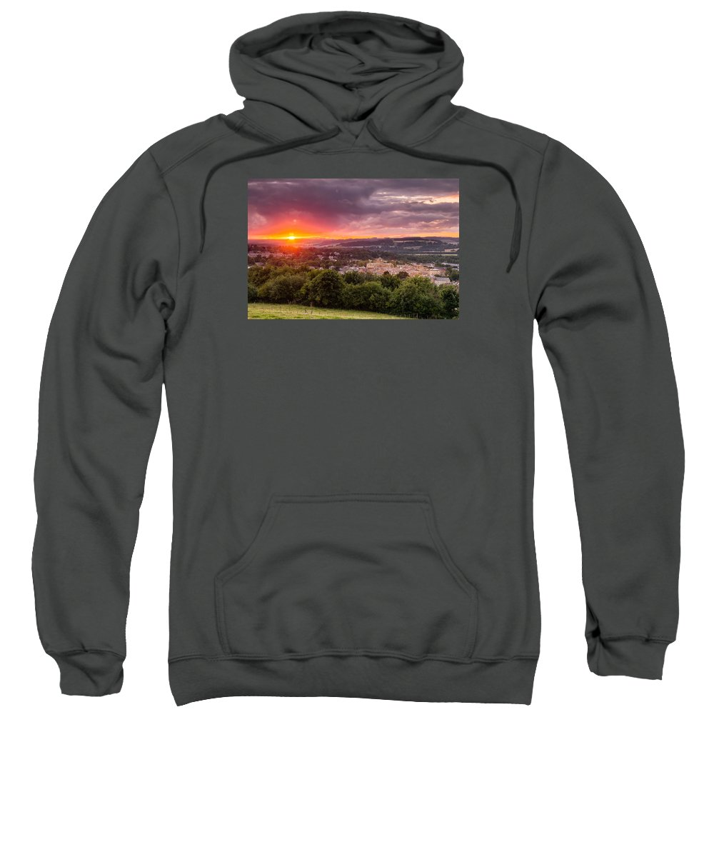 Northumberland Sweatshirt featuring the photograph The Sun Sets Over Hexham by David Head