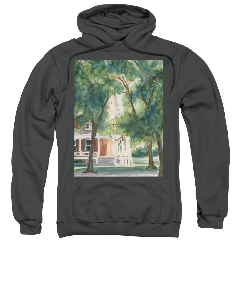 House Sweatshirt featuring the painting The Sunlit Porch by Jenny Armitage