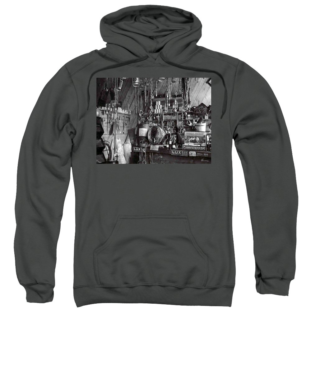 Classic Black And White Old Photo Pioneers Old Days 1900s Old Store Supplies Hardware Sweatshirt featuring the photograph The Supply Store by Andrea Lawrence