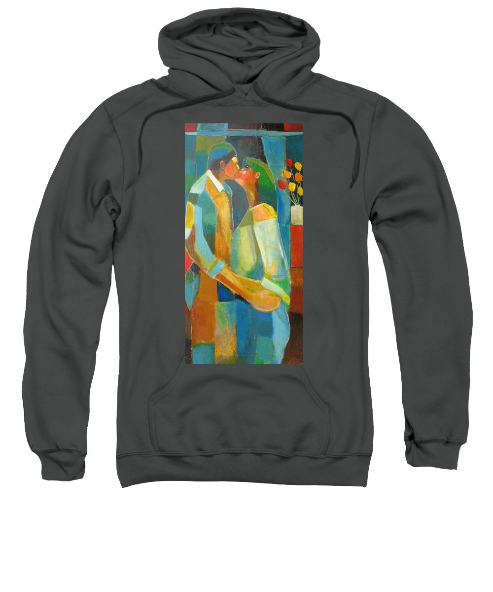 Love Abstract Sweatshirt featuring the painting The Sweet Kiss by Habib Ayat