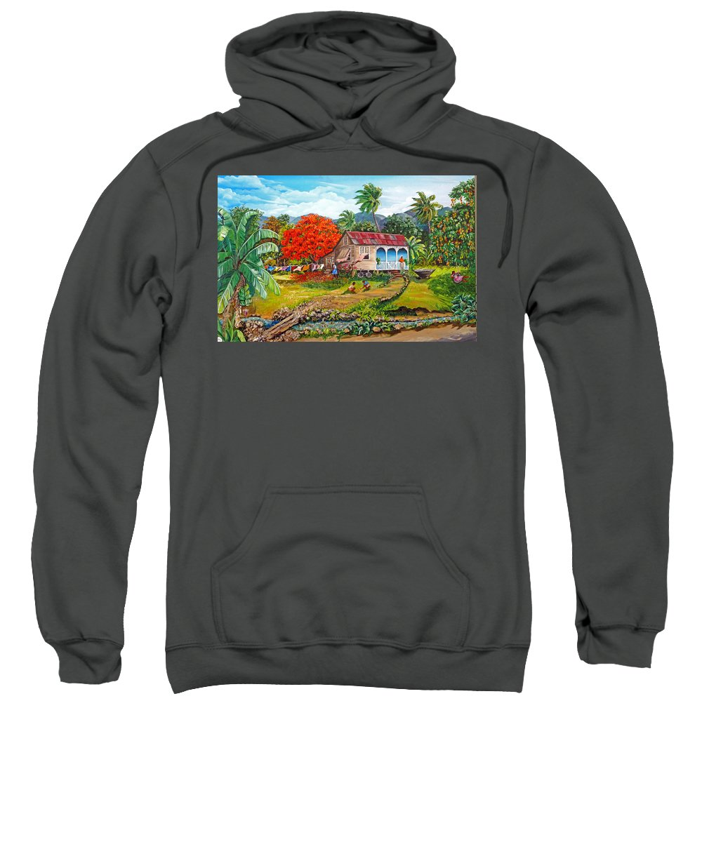 Tropical Scene Caribbean Scene Sweatshirt featuring the painting The Sweet Life by Karin Dawn Kelshall- Best