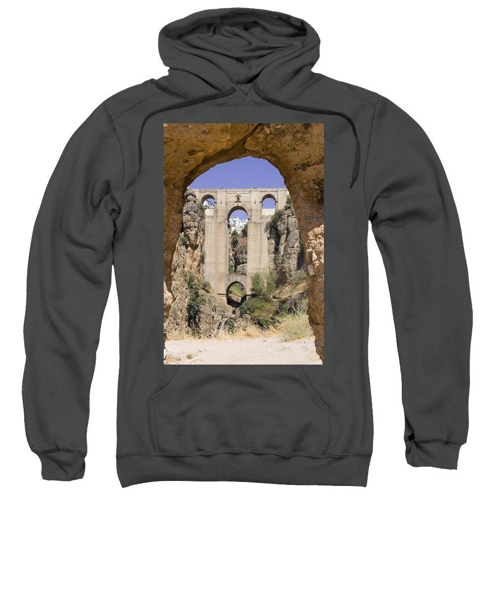 Ronda Sweatshirt featuring the photograph The Tajo De Ronda And Puente Nuevo Bridge Andalucia Spain Europe by Mal Bray