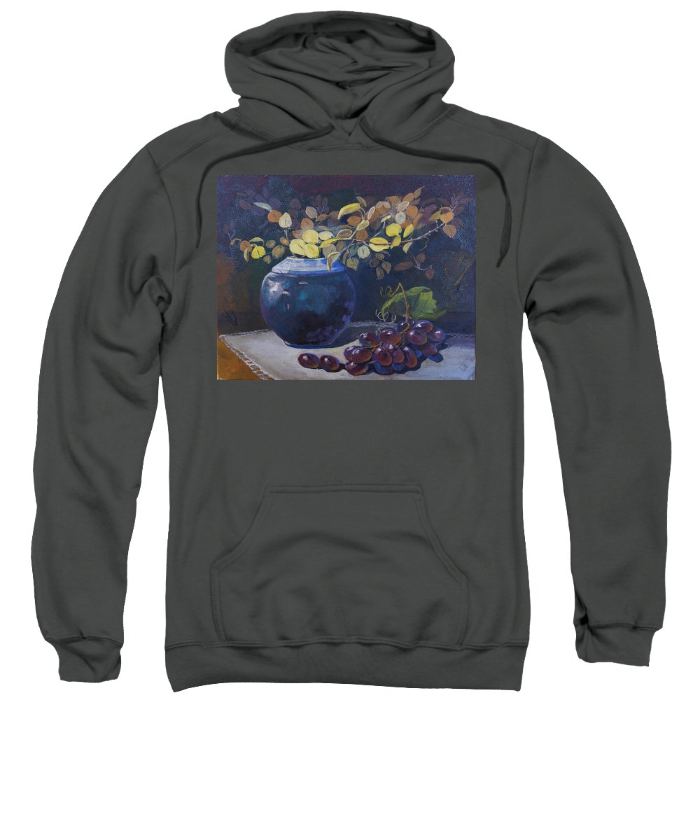 Still Life Sweatshirt featuring the painting The Teal Vase by Heather Coen
