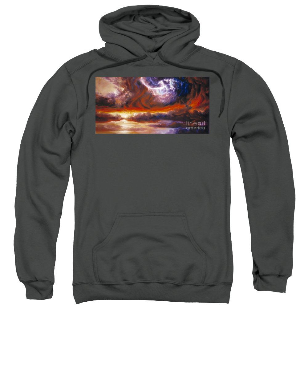 Tempest Sweatshirt featuring the painting The Tempest by James Christopher Hill