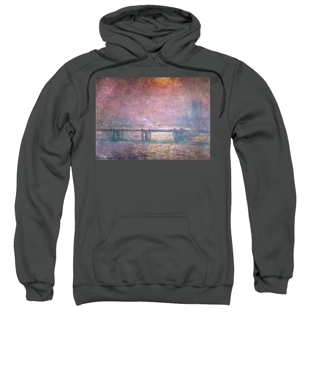 Monet Sweatshirt featuring the painting The Thames At Charing Cross by Claude Monet