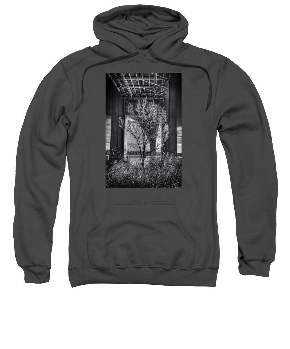 Bridge Sweatshirt featuring the photograph The Tree Under The Bridge by Mike Deutsch