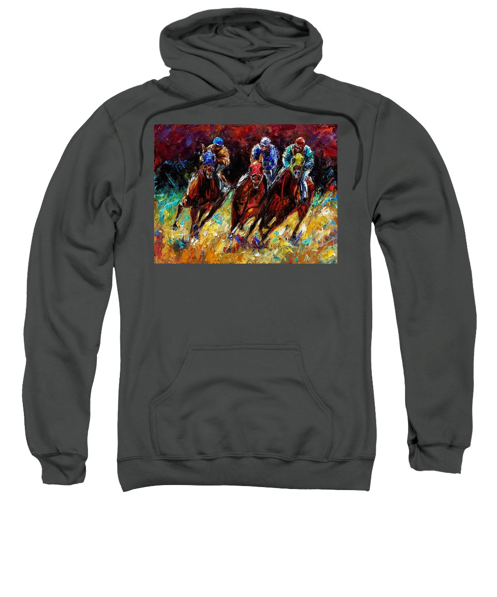 Horses Paintings Sweatshirt featuring the painting The Turn by Debra Hurd