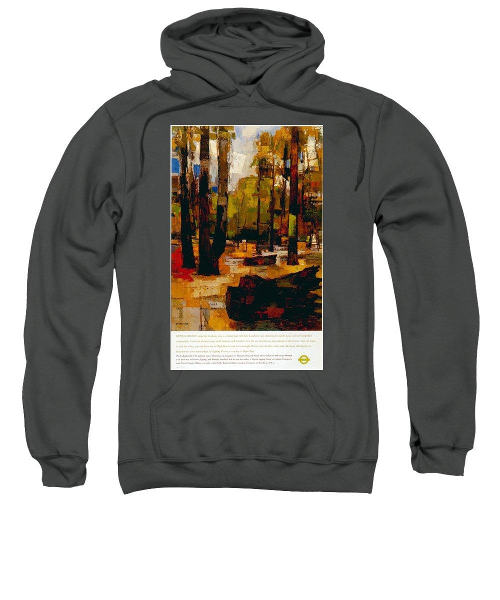 Epping Sweatshirt featuring the mixed media The Underground To Epping Forest - London Underground, London Metro - Retro Travel Poster by Studio Grafiikka