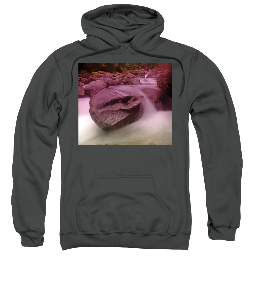 Waterfalls. The Miller River Sweatshirt featuring the photograph The Unmoveable by Jeff Swan