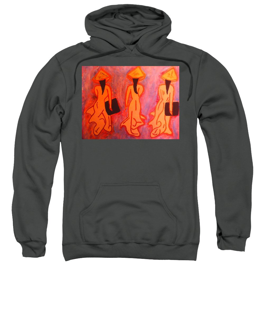Abstract Art Sweatshirt featuring the painting The Vietnamese,s On Old School by Marcela Hessari