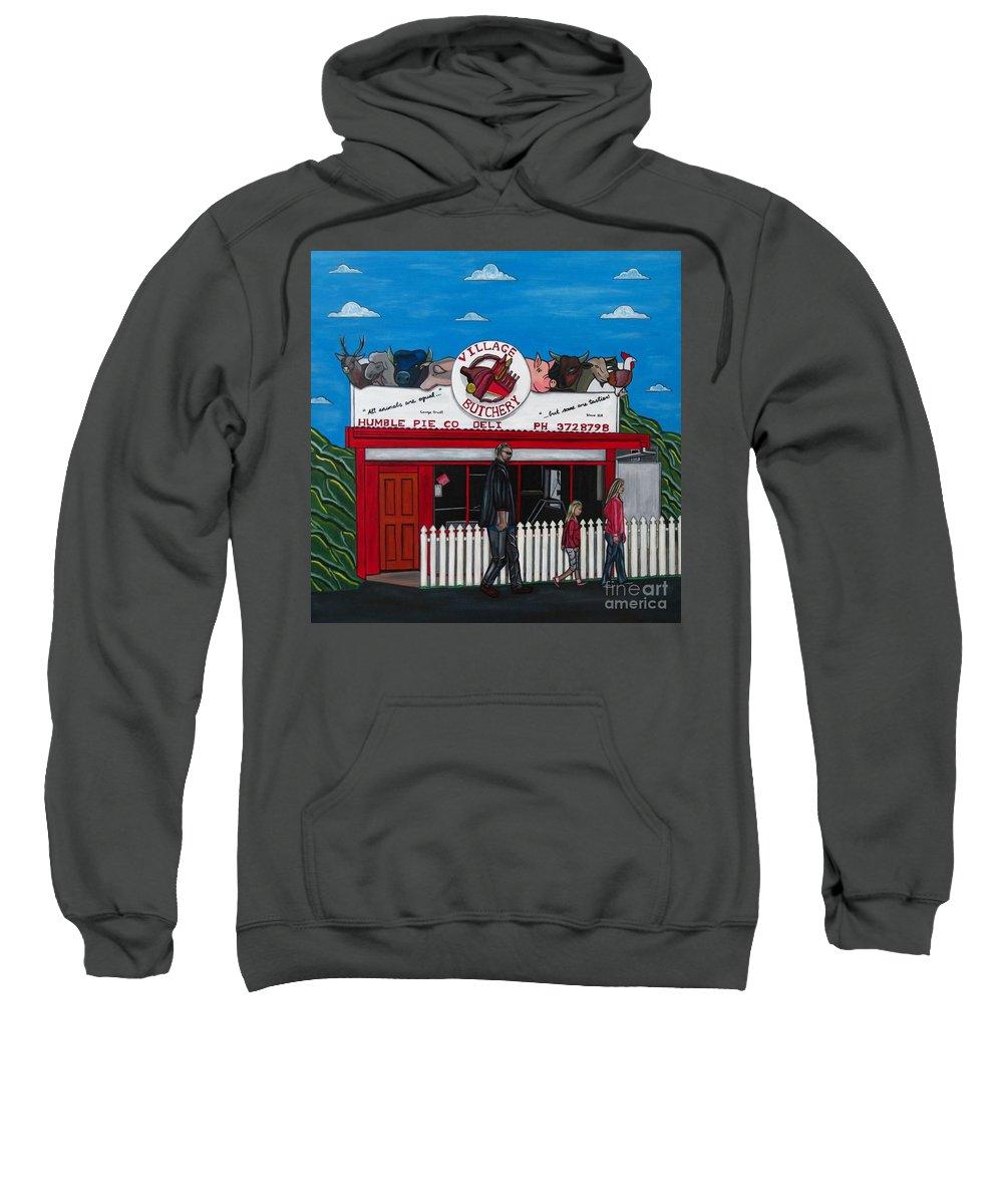 Buildings Sweatshirt featuring the painting The Village by Sandra Marie Adams