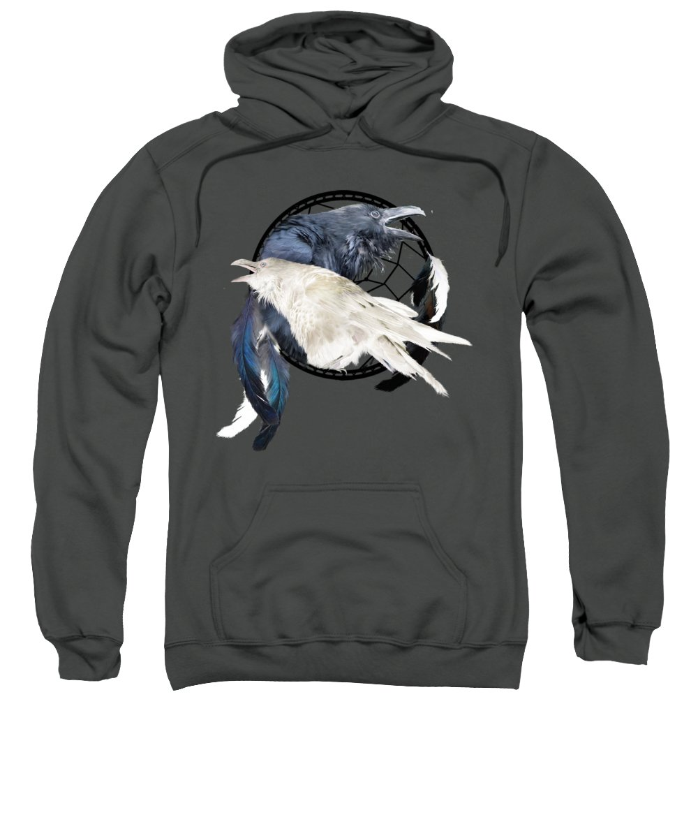 Carol Cavalaris Sweatshirt featuring the mixed media The White Raven by Carol Cavalaris
